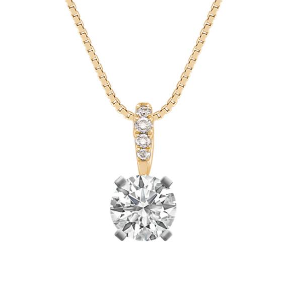 Round Diamond Pendant in 14k Yellow Gold (18 in)