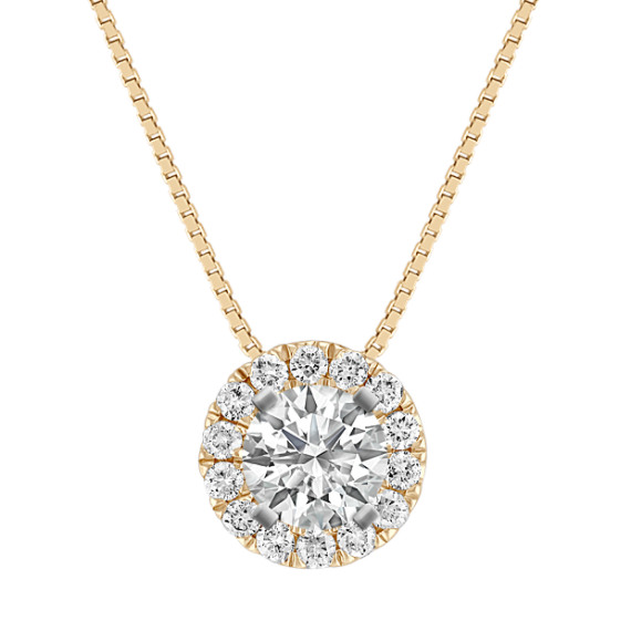 Diamond Halo Pendant with Pave-Setting (18 in)