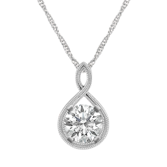 Swirl Pendant for Round Gemstone in 14k White Gold (20 in)