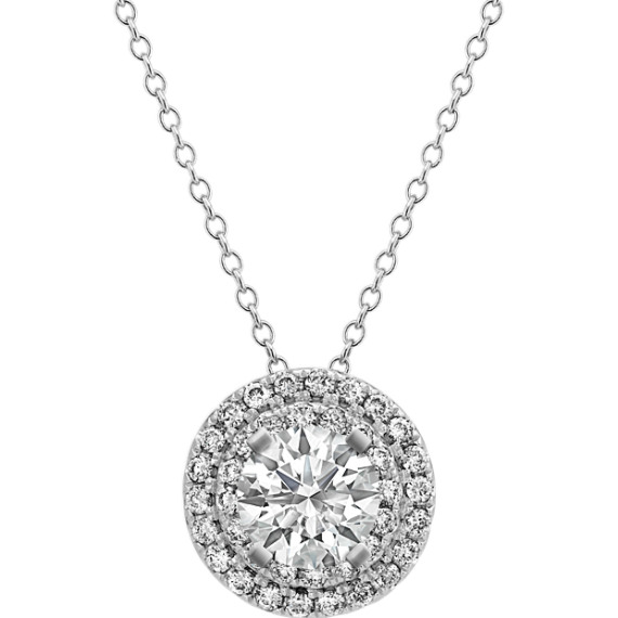 Diamond Halo Pendant in 14k White Gold (22 in)