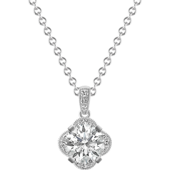 Vintage Diamond Pendant in 14k White Gold (22 in)