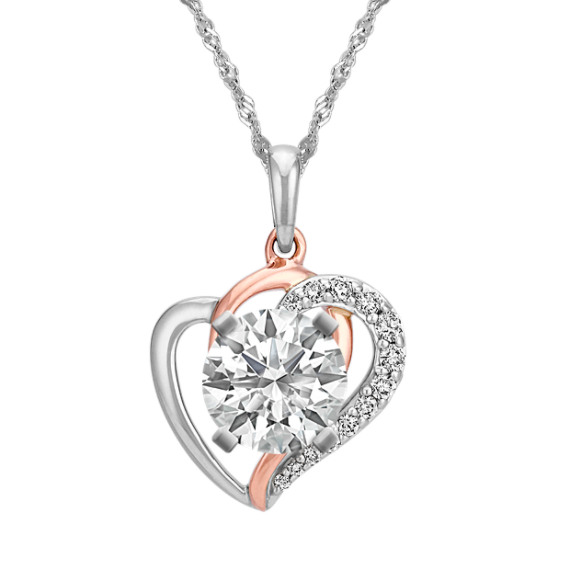 Heart Pendant in 14k Rose and White Gold for Heart-Shaped Gemstone (22 in)