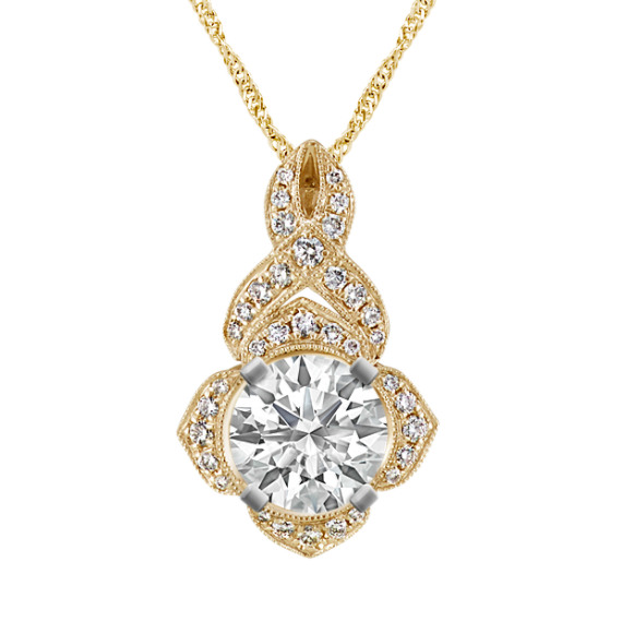 Swirl Diamond Pendant for Round Gemstone in 14k Yellow Gold (18 in)