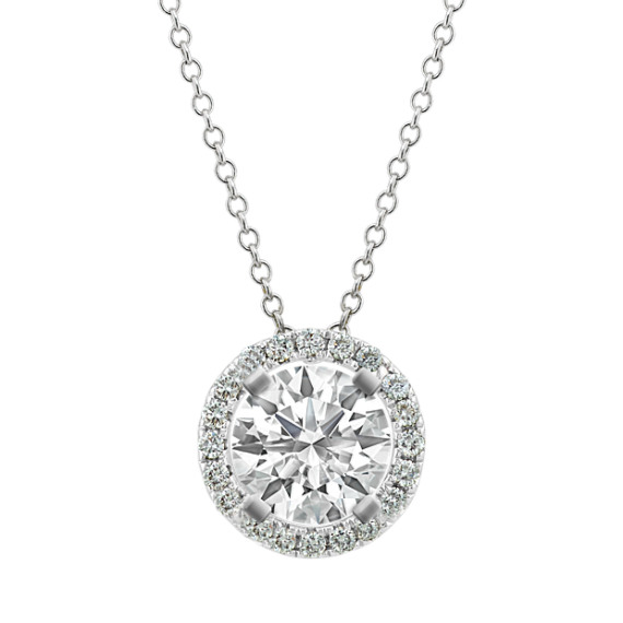 Round Diamond Pendant in 14k White Gold (22 in)