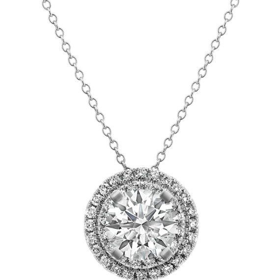 14k white gold diamond round halo pendant 22 in shane co 14k white gold diamond round halo pendant 22 in aloadofball Image collections