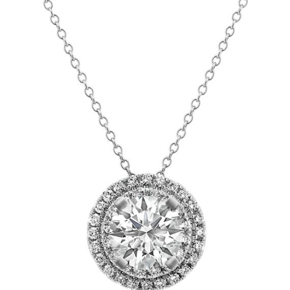 14k white gold diamond round halo pendant 22 in shane co 14k white gold diamond round halo pendant 22 in aloadofball Choice Image
