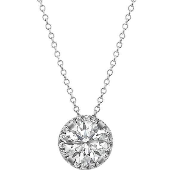 Diamond Halo Pendant for Round Gemstone (22 in.)