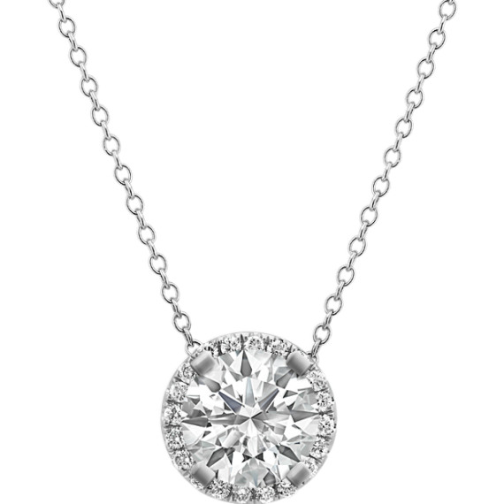 Diamond Halo Pendant in 14k White Gold (22 in.)