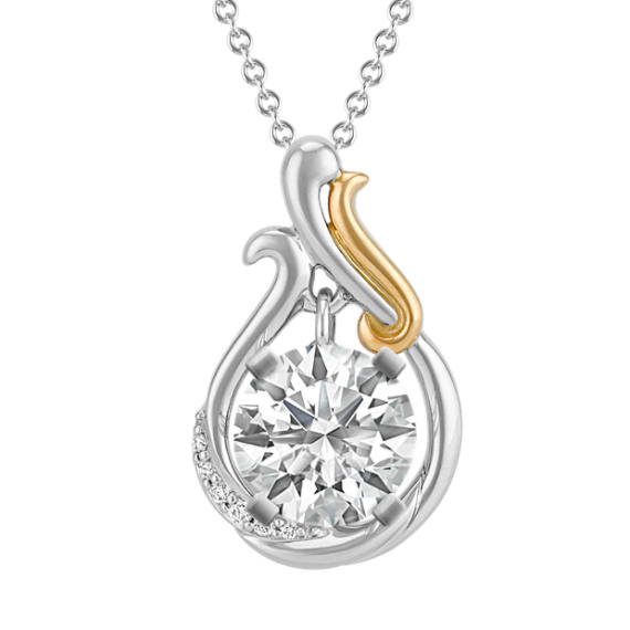 Diamond Accented Pendant in 14k Two-Tone Gold for Round Gemstone (22 in)