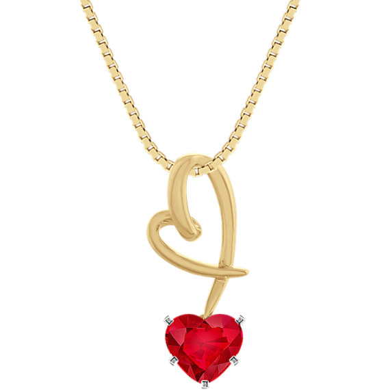 Dangle Heart Pendant in 14k Yellow Gold (18 in)