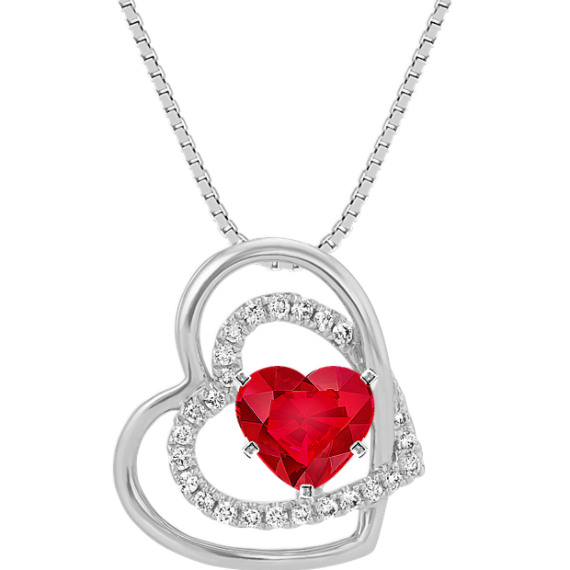 Round Diamond Hearts Pendant in 14k White Gold (18 in)