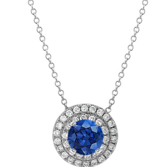 Round Diamond Double Halo Pendant (22 in)