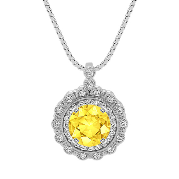Round Diamond Floral Pendant (18 in)