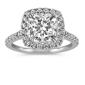 0e1d73a44e8 Cushion Halo Round Diamond Engagement Ring in 14k White Gold