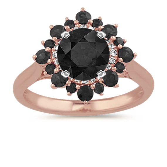 Black Sapphire and Diamond Halo Engagement Ring