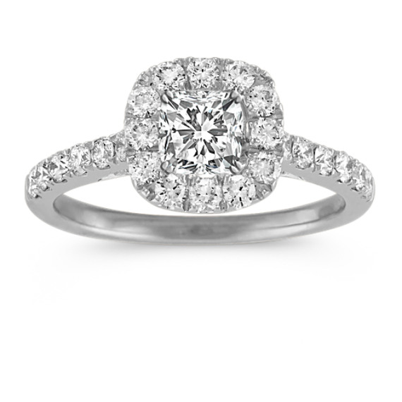 Halo Diamond Engagement Ring with Pave-Set Round Diamonds