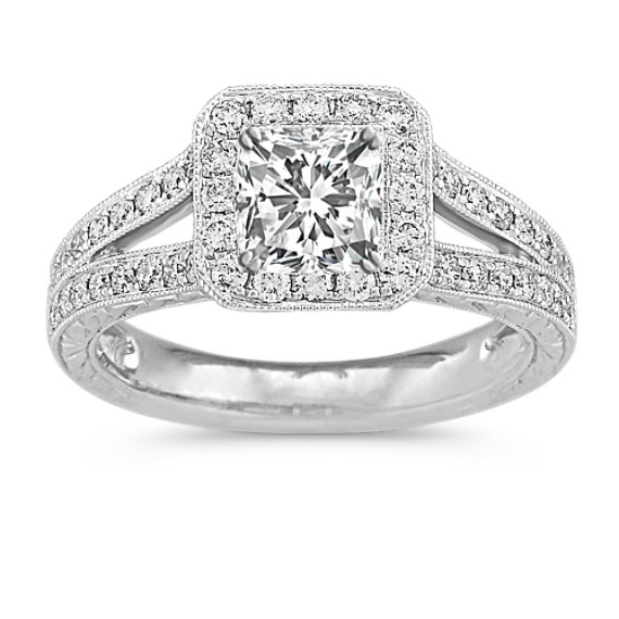 Halo Vintage Diamond Split Shank Platinum Engagement Ring with Engraving