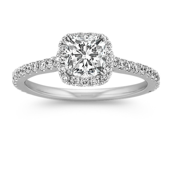 Halo Diamond Engagement Ring for 0.75 Carat Cushion Cut