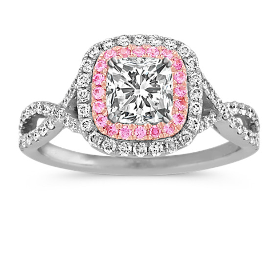 engagement diamond oval morganite peach ring rings halo pink and