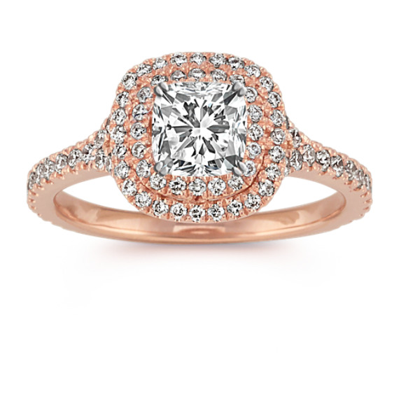 Double Cushion Halo Diamond Engagement Ring in 14k Rose Gold