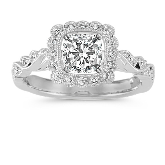 Vintage Cushion Halo Engagement Ring in 14k White Gold