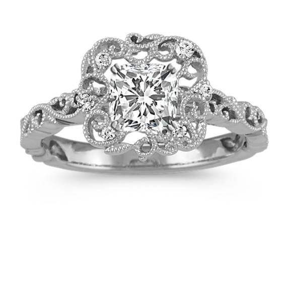 Cushion Halo Diamond Vintage Engagement Ring