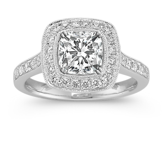 Cushion Halo Diamond Engagement Ring with Pave Setting