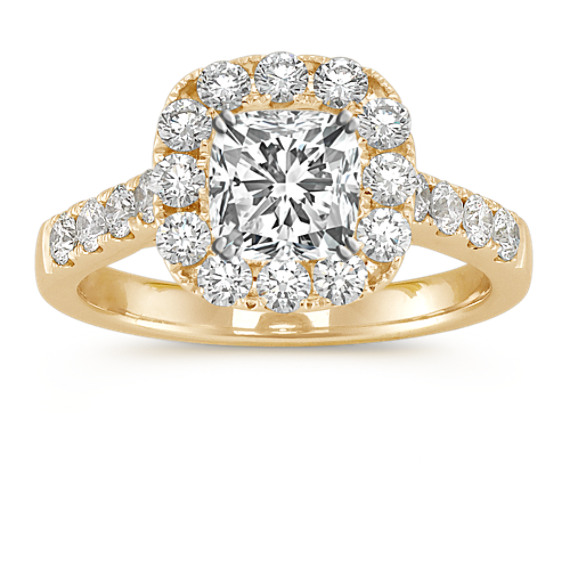 Halo Cathedral Diamond Engagement Ring in Yellow Gold