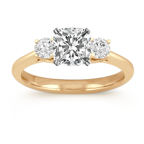 Three-Stone Round Diamond Engagement Ring in Yellow Gold