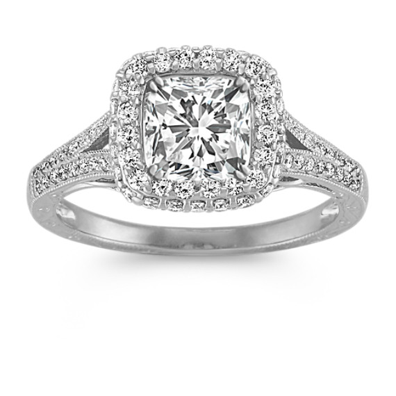 Halo Vintage Round Diamond Engagement Ring with Pave Setting