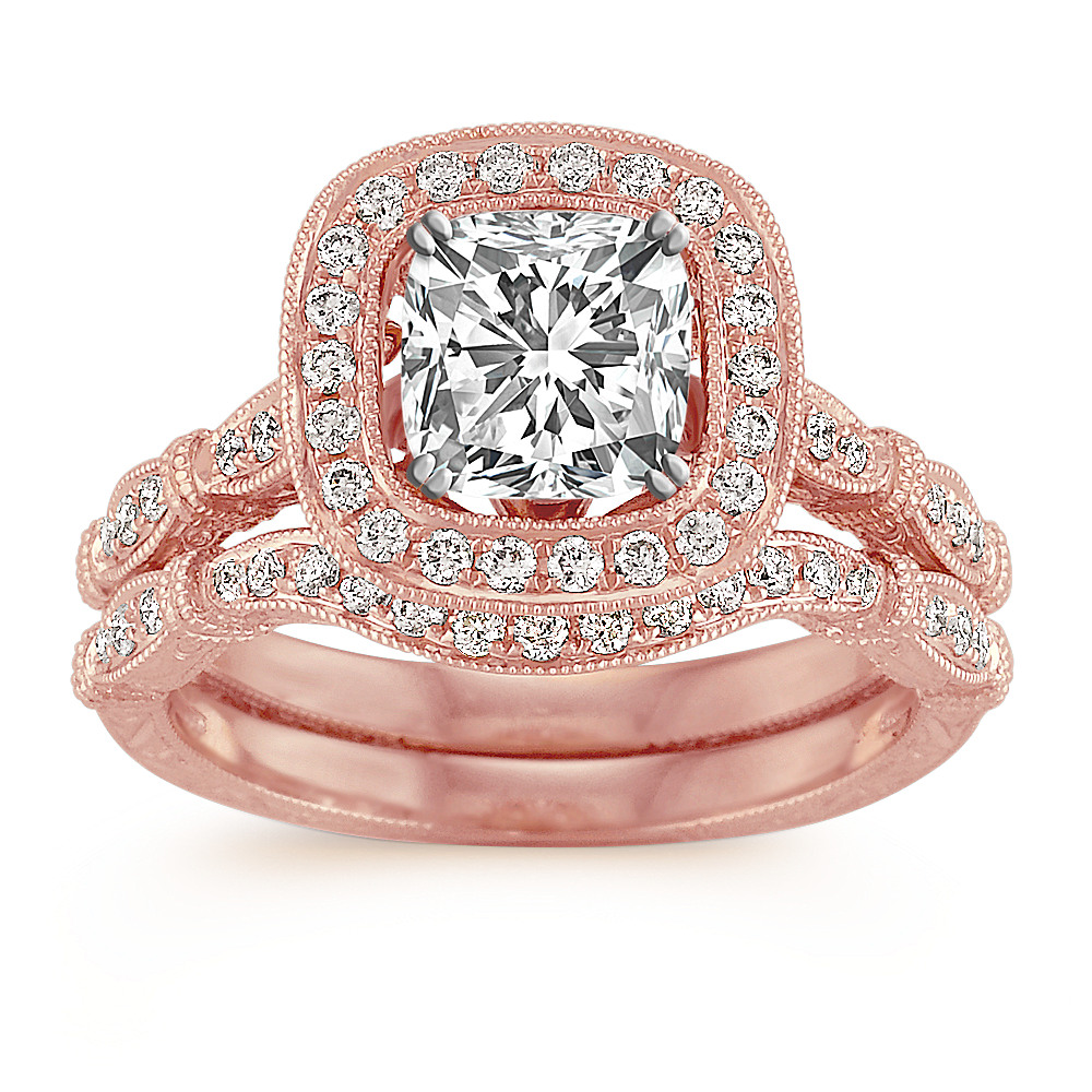 Halo Vintage Rose Gold Diamond Wedding Set with Pave Setting | Shane Co.