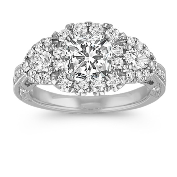 Vintage Halo Engagement Ring with Pear-Shaped and Round Diamond Accent