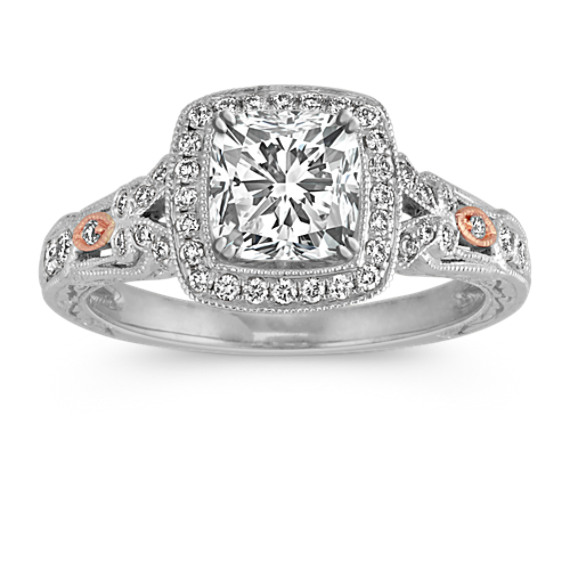Pave-Set Round Diamond Vintage Halo Engagement Ring