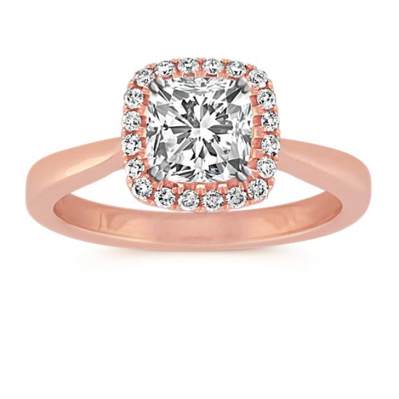 68f335255 Cushion Halo Diamond Engagement Ring in 14k Rose Gold | Shane Co.