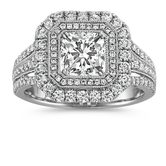 Cushion Halo Vintage Engagement Ring with Pave-Set Round Diamonds