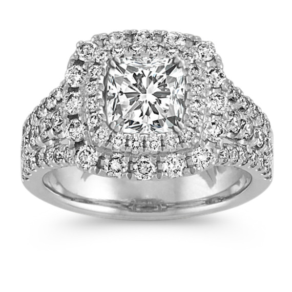 Double Halo Split Shank Engagement Ring in 14k White Gold