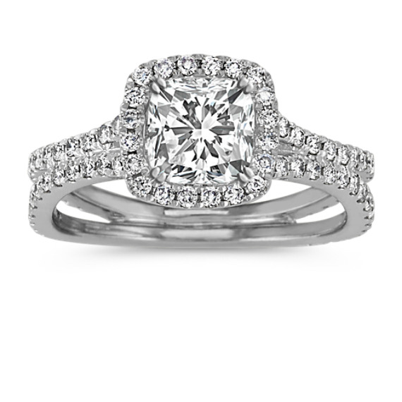 Round Diamond Cushion Halo Split Shank Engagement Ring