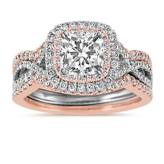 Double Halo Infinity Wedding Set in 14k White and Rose Gold