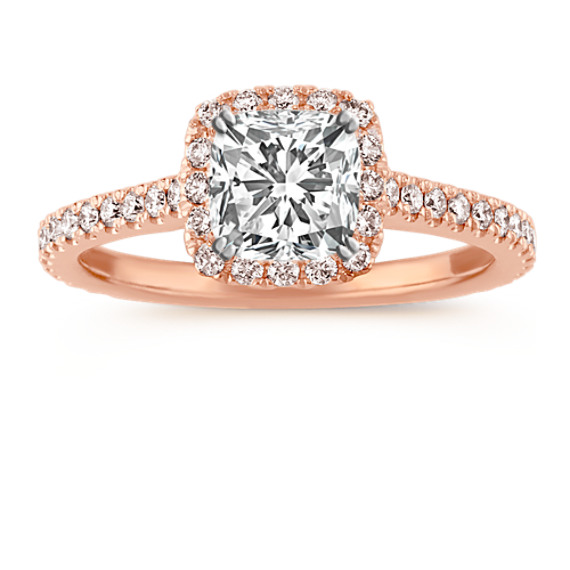 Diamond Halo Engagement Ring for 1.00 Carat Cushion Cut in 14k Rose Gold
