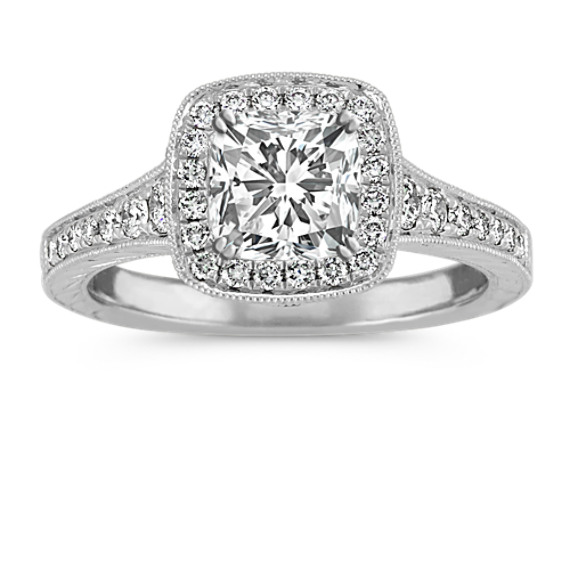 Round Diamond Vintage Halo Engagement Ring