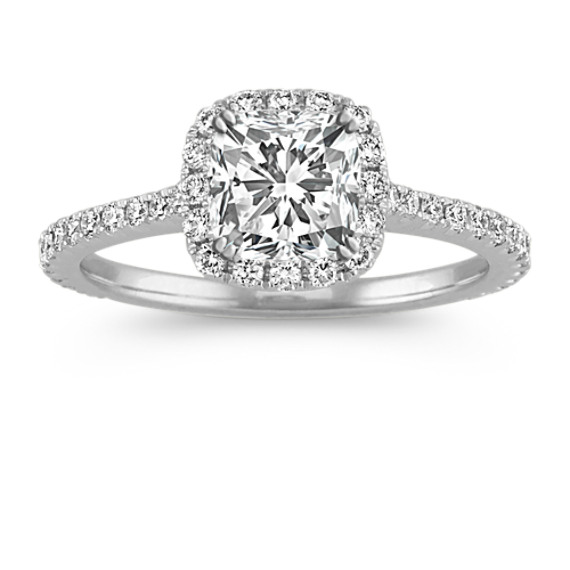 Cushion Halo Engagement Ring with Pave-Setting