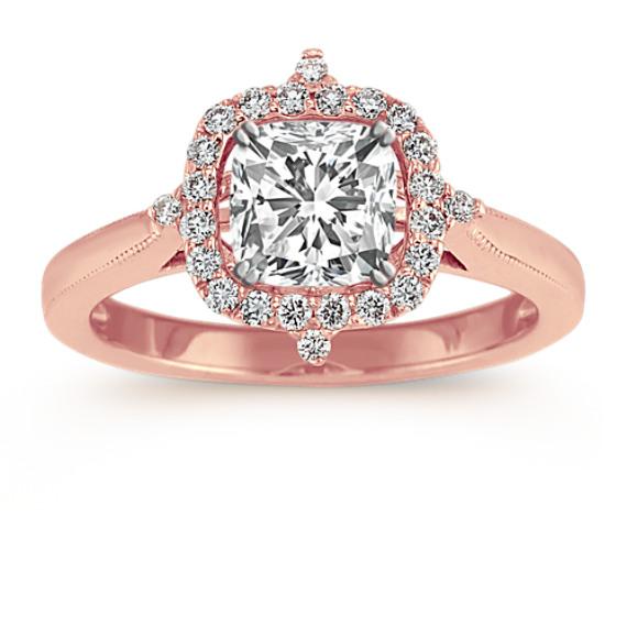 Vintage Diamond Halo Ring in 14k Rose Gold