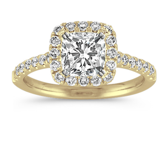 Classic Halo Diamond Engagement Ring in 14k Yellow Gold