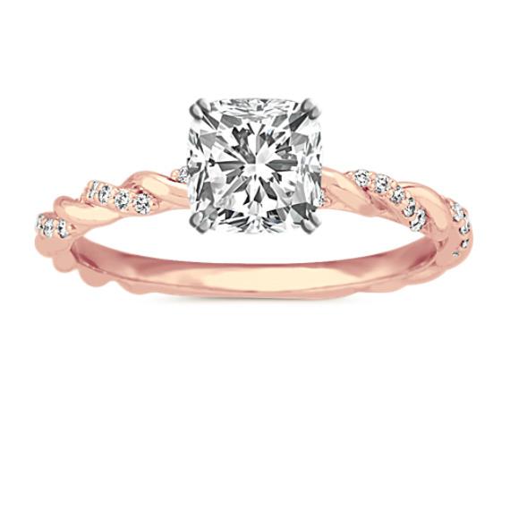Diamond Twist Engagement Ring in 14k Rose Gold