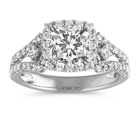 Cushion Halo Engagement Ring with Pave-Set Diamonds