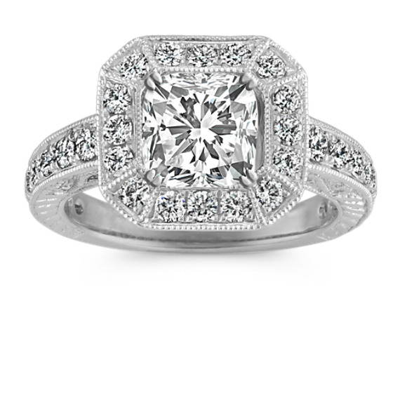 Halo Vintage Engraved Engagement Ring with Pave-Setting in Platinum