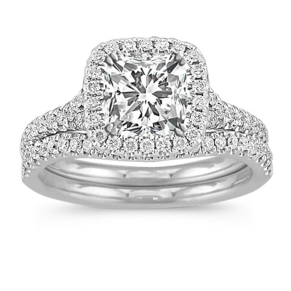 Halo Diamond Split Shank Wedding Set with Pave Setting