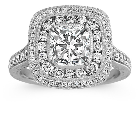 Vintage Diamond Halo Engagement Ring in Platinum