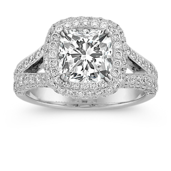Split Shank Halo Diamond Engagement Ring with Pave-Setting