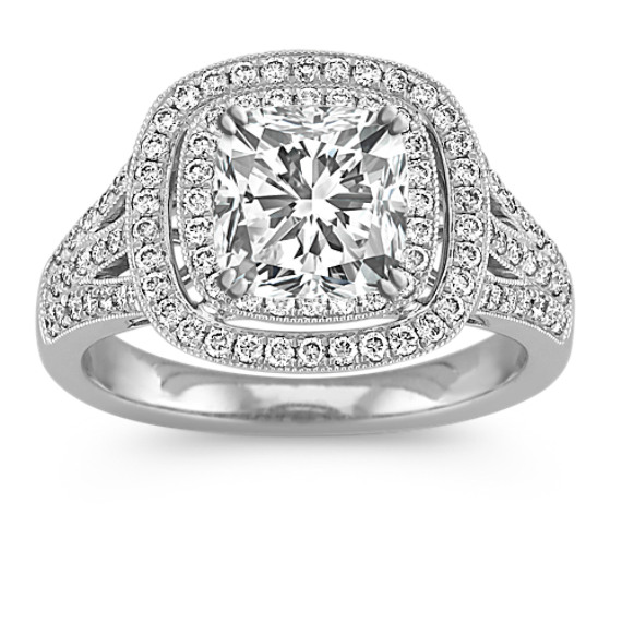 Double Halo Round Diamond Engagement Ring with Pave-Setting